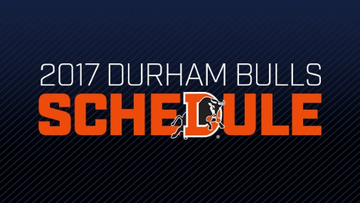 2017 Durham Bulls Schedule with a bull jumping through the letter D