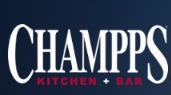 Champps Kitchen & Bar sign in red white and blue