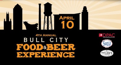 Sign advertising the 4th Annual Bull City Food & Beer Experience April 10