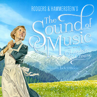 The Sound of Music Poster with Woman standing in front of the snow covered mountiains
