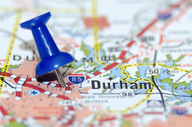 Close up map showing Durham with a blue push pin marking the spot