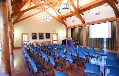lecture hall set with blue chairs