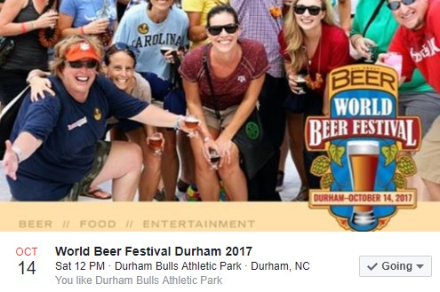 World Beer Festival Durham 2017 with logo and smiling people
