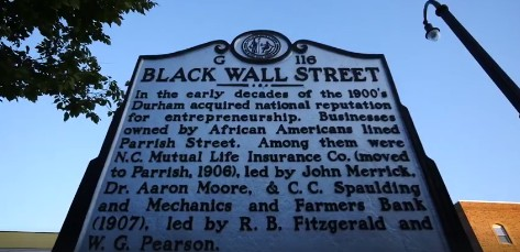 Black Wall Street Historic Sign in Durham, NC