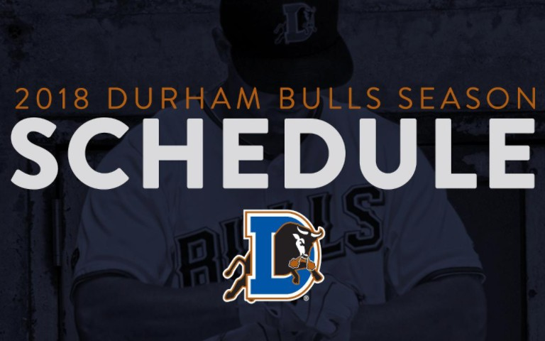 2018 Durham Bulls Season Schedule with Durham Bulls logo and baseball player in the background