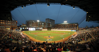 a view of the Durham Bulls athletic field from the upper seats behind home base with the skyline in the distance