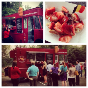 Red Food Truck with people waiting in line Strawberries atop a waffle with Chocolate sauce
