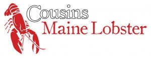 Cousins Mail Lobster logo with a red lobster pictured
