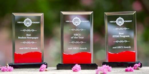 Three Award Oblisks 2016 HBCU Awards Best In Student Newspaper,  HBCU of the Year & Best STEM Program