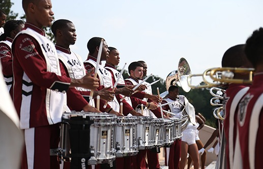 young men of the North Carolina Central Drum line standing in formation ready to march