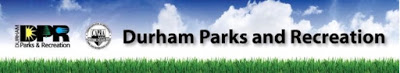 Durham Parks and Recreation logo with blue skies and grass
