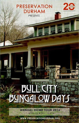 Preservation Durham presents Bull City Bungalow Days Annual Home tour 20th Anniversary sign 2016 with stone and wooden house in background