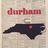 newspaper print with Durham and an outline of the state of North Carolina in the center of it
