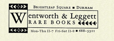 sign for Wentworth & Leggett Rare Books Brightleaf Square Durham