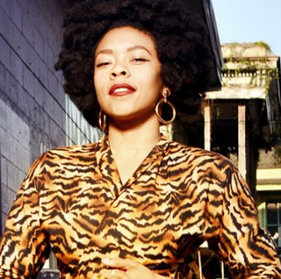 performer nikki hill wearing a tiger print top