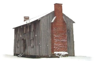 Old Wooden cabin in the snow