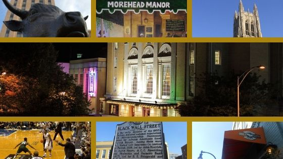 Durham bull statue, Morehead Manor painting, Duke Chapel, Carolina Theatre, Duke basketball game, Black Wall Street sign, Bull City Burger & Brewery canopy