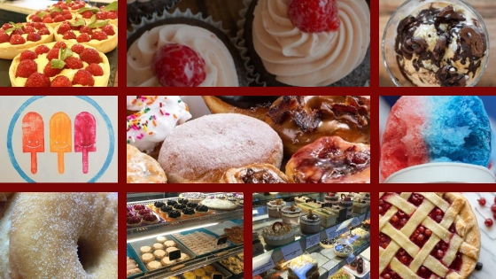 a variety of desserts including cupcakes, tarts, pies, donuts, and ice cream