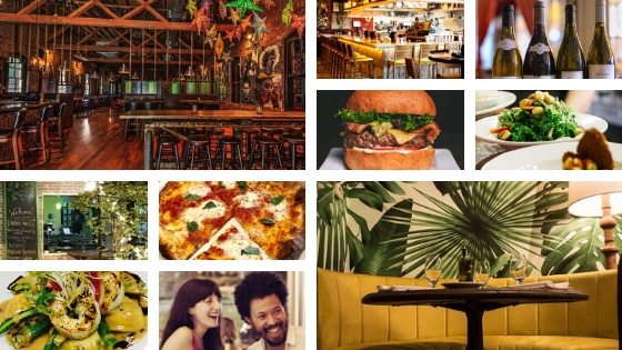 Durham restaurants with seating, food, beverages, and guests