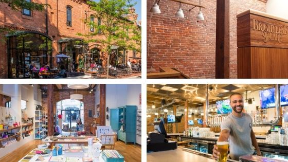Historic Brightleaf Square in Durham, window shops, brewery