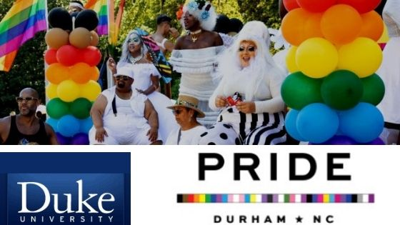 Welcome Pride Durham NC logo, Duke University logo, rainbow flags and balloons, people attending parade