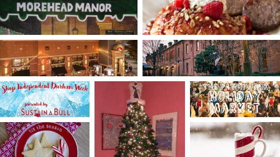 holiday shopping here in Durham with Morehead Manor wall mural, breakfast, and Christmas tree