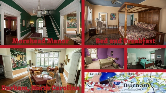 this durham bed and breakfast, Morehead Manor staircase, bedrooms, and dining area with Durham map