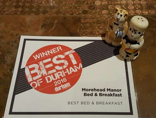 Awards Certificate Winner Best of Durham 2016 Morehead Manor Bed & Breakfast Best Bed & Breakfast with Signature Cat Salt & Pepper Shakers