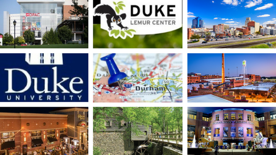Durham Performing Arts Center, Duke Lemur Center, City of Durham, Duke University, Durham map, American Tobacco Campus, Cheesecake Factory restaurant, Eno, Durham Bulls Athletic Stadium