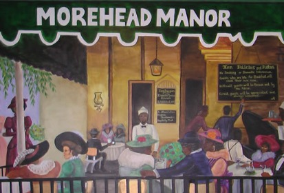 mural of various people sitting a tables enjoying food on an outdoor patio under Morehead Manor canopy