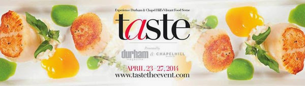 rectangular plate of scallops advertising Taste the event  April 23-27, 2014