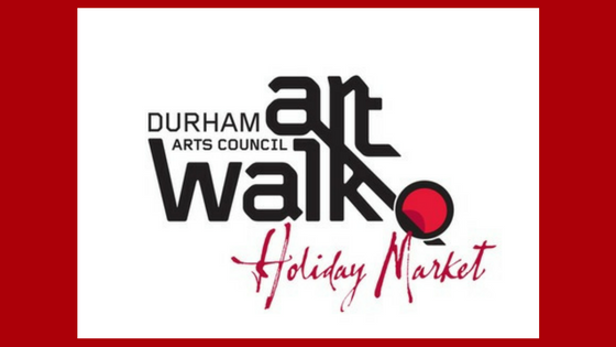 Sign with red border advertising the Durham Arts Council Art Walk and Holiday Market