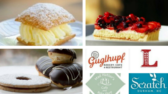 Durham Desserts and Pastries with Guglhupf, Loaf, Mad Hatter's, Scratch logos